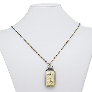 "Necklace, Plastic / Steel / Antique Brass-plated Steel / ""pewter"" (zinc-based Alloy), Black / Pale Yellow / Clear, 57x27mm Rectangle Watch Numbers Roman Numerals, 28 Inches Lobster Claw Clasp. Sold Individually 8429JD"