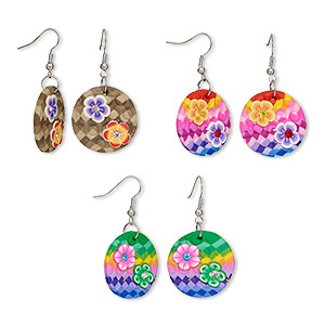 Fishhook Earrings Polymer Clay Multi-colored
