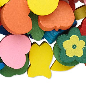 Focal / Drop / Bead Mix, Painted Wood, Mixed Colors, 9mm-60x50mm Mixed Shape. Sold Per 1/4 Pound Pkg, Approximately 150 Pieces