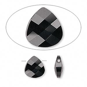 Drop, Swarovski® Crystals, Crystal Passions®, Jet, 11x10mm Faceted Puffed Briolette Pendant (6012). Sold Per Pkg 24 6012