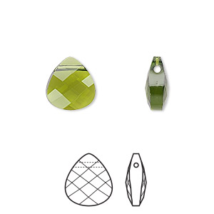 Drop, Swarovski® Crystals, Crystal Passions®, Olivine, 11x10mm Faceted Puffed Briolette Pendant (6012). Sold Per Pkg 24 6012