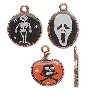 "Charm, Acrylic Antique Copper-finished ""pewter"" (zinc-based Alloy), Black / White / Orange, 17mm Flat Round Skeleton / 18x15mm Flat Oval Ghost Head / 17x16mm Pumpkin Skull Crossbones. Sold Per 3-piece Set"