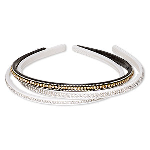 Headband, Acrylic / Glass Rhinestone / Silver- / Gold-finished Brass, Assorted Colors, 6mm 8mm Wide Cupchain, 15 Inches. Sold Per Pkg 3 8460JD