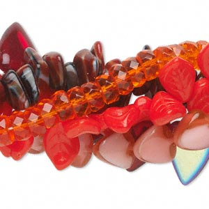 Bead Mix, Czech Glass, Mixed Colors, 8x4mm-18x13mm Multi-shapes. Sold Per Pkg (5) 16-inch Strands