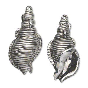 "Focal, Antiqued Silver-finished ""pewter"" (zinc-based Alloy), 32x16mm Single-sided Puffed Shell. Sold Per Pkg 2"