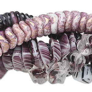 Bead Mix, Czech Glass, Light Purple Dark Purple, 6mm-18x13mm Multi-shapes. Sold Per Pkg (5) 16-inch Strands