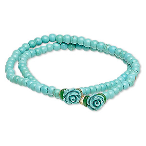 Bracelet, Stretch Wrap, Turquoise (imitation) / Resin / Glass, Turquoise Blue / Green / Yellow, 8mm Rose, 7 Inches. Sold Individually 8476JD