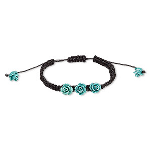 Bracelet, Waxed Cotton Cord Resin, Black Turquoise Blue, 10mm Rose, Adjustable 6-1/2 10 Inches Macramé Knot Closure. Sold Individually 8477JD