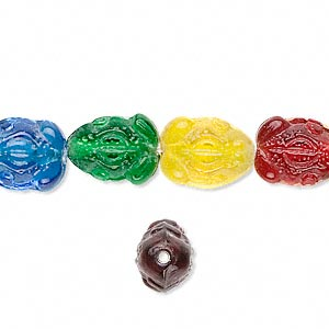 Bead, Glass, Assorted Colors, 13x9mm Frog. Sold Per 16-inch Strand