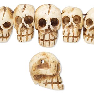 Bead Bone Dyed Antiqued 11x6mm 24x15mm Graduated Hand Carved Top Drilled Carved Skull Mohs Hardness 2 1 2 Sold Per Pkg Of 15 Fire Mountain Gems And Beads