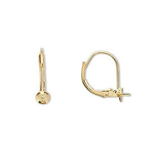 Earwire, Gold-plated Brass, 15mm Leverback 4mm Cup 3mm Peg, Fits 4-6mm Half-drilled Bead. Sold Per Pkg 50 Pairs
