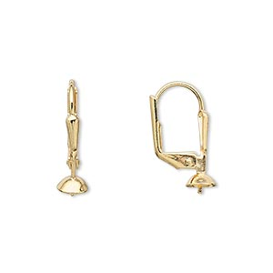 Earwire, Gold-plated Brass, 19mm Leverback 5mm Cup Peg, Fits 4-6mm Bead. Sold Per Pkg 50 Pairs