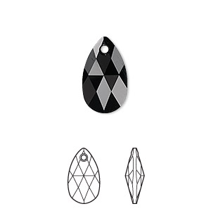 Drop, Swarovski® Crystals, Crystal Passions®, Jet, 16x9mm Faceted Pear Pendant (6106). Sold Per Pkg 24 6106