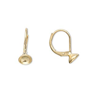 Earwire, Gold-plated Brass, 16mm Leverback 6mm Cup. Sold Per Pkg 50 Pairs