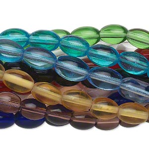 Bead, Glass, Assorted Transparent Colors, 8x6mm Oval. Sold Per Pkg (10) 16-inch Strands
