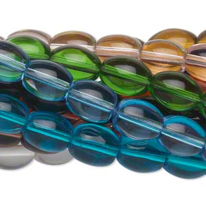 Bead, Glass, Assorted Transparent Colors, 11x8mm Oval. Sold Per Pkg (10) 16-inch Strands