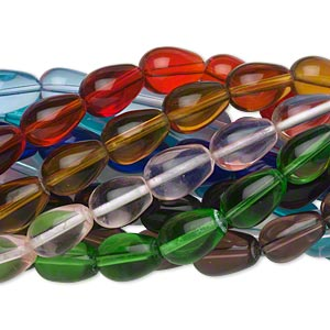 Bead, Glass, Assorted Transparent Colors, 17x11 Teardrop. Sold Per Pkg (10) 16-inch Strands