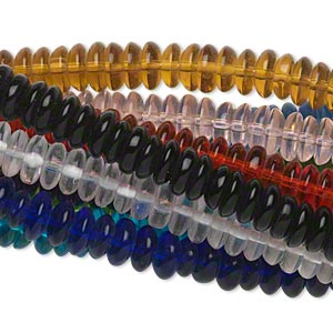 Bead, Glass, Assorted Transparent Colors, 8x3mm Rondelle. Sold Per Pkg (10) 16-inch Strands