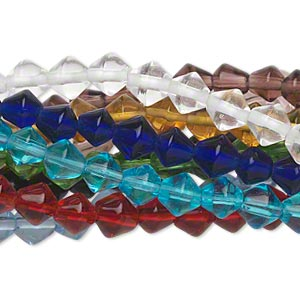 Bead, Glass, Assorted Transparent Colors, 6mm Bicone. Sold Per Pkg (10) 16-inch Strands
