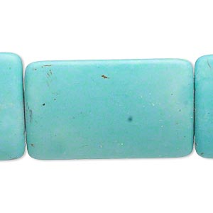 Bead, Magnesite (dyed / Stabilized), Light Blue, 35x24mm Puffed Rectangle, C- Grade, Mohs Hardness 3-1/2 4. Sold Per 15-inch Strand