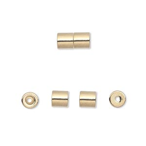 Clasp, Magnetic Barrel, Gold-finished Steel, 10x5mm Round Tube 1mm Hole 2.4x2mm Inner Well Heavy-duty Strength Magnet. Sold Per Pkg 4
