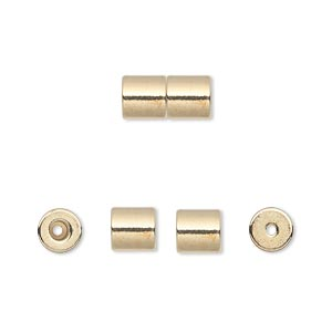 Clasp, Magnetic Barrel, Gold-finished Steel, 12x6mm Round Tube 1mm Hole 2.4x2mm Inner Well Heavy-duty Strength Magnet. Sold Per Pkg 4