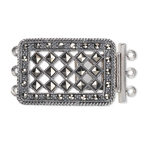 Clasp, 3-strand Tab, Signity® Marcasite (natural) Antiqued Sterling Silver, 29x20mm Rectangle Diamond-shaped Cutouts. Sold Individually