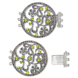 Clasp, 3-strand Tab, Signity® Marcasite (natural) / Peridot (imitation) / Antiqued Sterling Silver, 38mm Round Cutout Hearts Flowers. Sold Individually