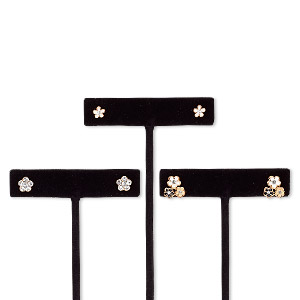 """Earring, Enamel / Glass Rhinestone / Stainless Steel / Rose Gold-finished Steel / """"pewter"""" (zinc-based Alloy), Assorted Colors, 6x6mm Flower / 7x7mm Flower / 12x10mm Triple Flower Post. Sold Per Pkg 3 Pairs 8590JD"""