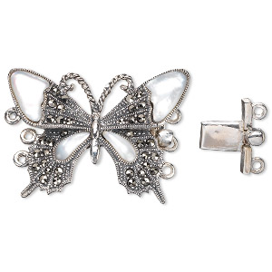 Clasp, 3-strand Tab, Antiqued Sterling Silver / Signity® Marcasite / Mother-of-pearl Shell (natural), 33x23mm Butterfly. Sold Individually