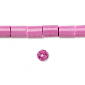 Bead, Magnesite (dyed / Stabilized), Fuchsia, 8x6mm Round Tube, C+ Grade, Mohs Hardness 3-1/2 4. Sold Per 16-inch Strand