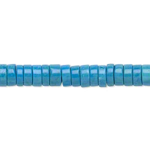 Bead, Magnesite (dyed / Stabilized), Blue, 6x3mm Heishi, B Grade, Mohs Hardness 3-1/2 4. Sold Per 16-inch Strand 8621GS