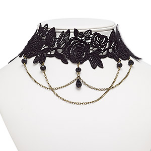 "Necklace, Choker, Nylon Lace / Acrylic / Antique Brass-plated Steel / ""pewter"" (zinc-based Alloy), Black, 54mm Wide Flower, 16 Inches 2-inch Extender Chain Lobster Claw Clasp. Sold Individually 8627JD"