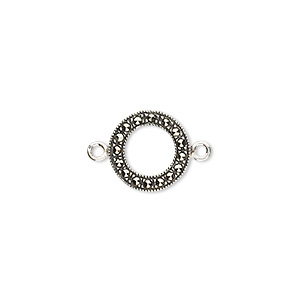 Link, Sterling Silver Marcasite, 11mm Open Flat Round. Sold Individually