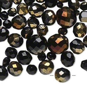 Bead Mix, Czech Fire-polished Glass, Jet Half-coat Bronze Gold, 4x4mm-16x14mm Faceted Round. Sold Per 1/4 Pound Pkg, Approximately 180 Beads