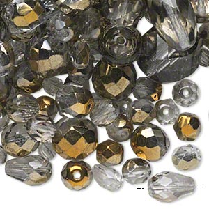 Bead Mix, Czech Fire-polished Glass, Smoke Metallic Bronze, 4x4mm-20x15mm Faceted Round / Faceted Teardrop / Faceted Round Tube. Sold Per 1/4 Pound Pkg, Approximately 260 Beads