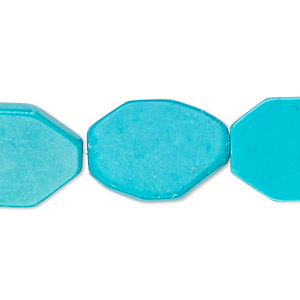 Bead, Magnesite (dyed / Stabilized), Blue, 18x15mm Flat Octagon, B- Grade, Mohs Hardness 3-1/2 4. Sold Per 16-inch Strand