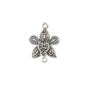 Link, Sterling Silver Marcasite, 15x15mm Flower. Sold Individually