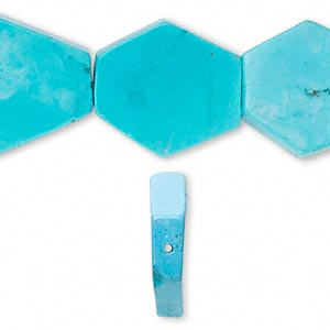 Bead, Magnesite (dyed / Stabilized), Blue, 30x23mm 6-sided Freeform, C+ Grade, Mohs Hardness 3-1/2 4. Sold Per 16-inch Strand