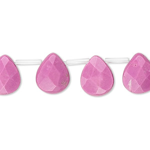 Bead, Magnesite (dyed / Stabilized), Fuchsia, 12x10mm Top-drilled Faceted Teardrop, B- Grade, Mohs Hardness 3-1/2 4. Sold Per 16-inch Strand, Approximately 30 Beads