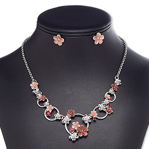 """Necklace Earring, Enamel / Glass Rhinestone / Imitation Rhodium-finished Steel / Brass / """"pewter"""" (zinc-based Alloy), Red / Pink / Dark Pink, Flower, 18-inch Necklace 2-inch Extender Chain Lobster Claw Clasp, 14mm Flower Post. Sold Per Set 8662JD"""