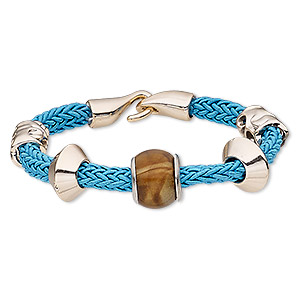 Bracelet, Acrylic / Nylon / Resin / Silver- / Rose Gold-coated Plastic, Turquoise Blue Brown, 16mm Wide, 6-1/2 Inches Hook-and-eye Clasp. Sold Individually 8733JD