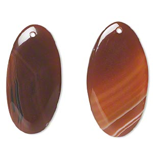 Focal, Red Agate (dyed / Heated), 50x27mm Top-drilled Flat Oval, B- Grade, Mohs Hardness 6-1/2 7. Sold Per Pkg 2