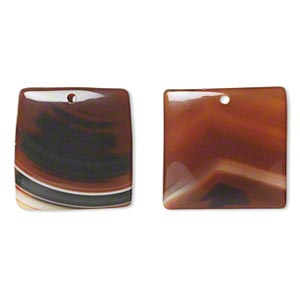 Focal, Red Agate (dyed / Heated), 32x32mm Top-drilled Flat Square, B- Grade, Mohs Hardness 6-1/2 7. Sold Per Pkg 2