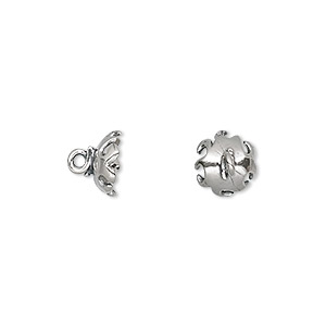 Cup, Sterling Silver, 8.5x7mm Round 2mm Peg, Fits 7-9mm Half-drilled Bead. Sold Per Pkg 2 5254SH
