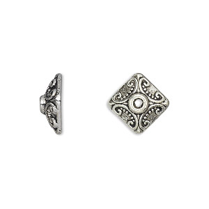 "Bead Cap, Antique Silver-plated ""pewter"" (zinc-based Alloy), 11x5mm Square, Fits 8-12mm Bead. Sold Per Pkg 20"