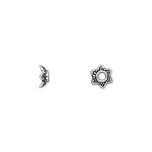 "Bead Cap, Antique Silver-plated ""pewter"" (zinc-based Alloy), 7x3mm Star, Fits 6-8mm Bead. Sold Per Pkg 100"