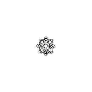 "Bead Cap, Antique Silver-plated ""pewter"" (zinc-based Alloy), 9x3mm Flower, Fits 6-14mm Bead. Sold Per Pkg 100"