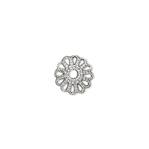 "Bead Cap, Antique Silver-plated ""pewter"" (zinc-based Alloy), 12x4mm Round, Fits 10-16mm Bead. Sold Per Pkg 50"