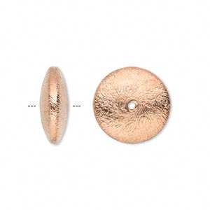 Bead, Copper-plated Copper, 16x6mm Brushed Saucer. Sold Per Pkg 6